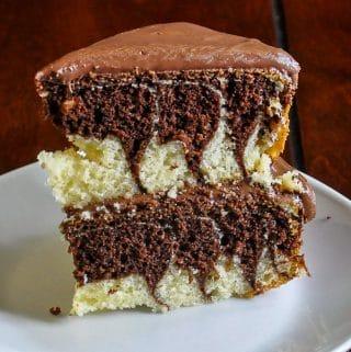 Zebra Cake photo of a single slice.