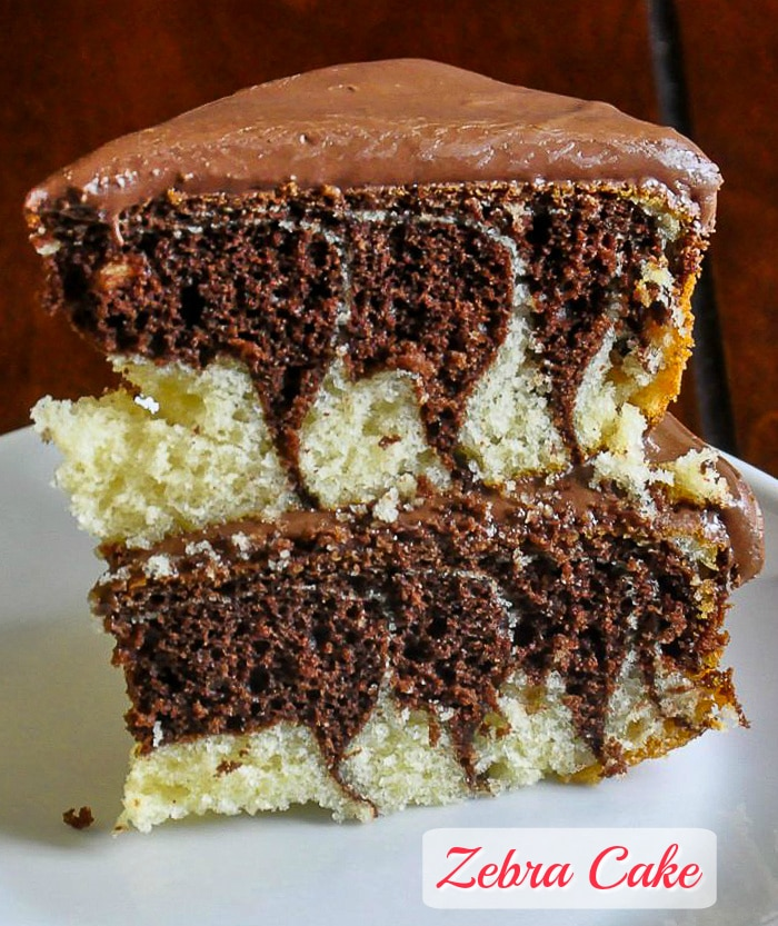 Zebra Cake photo with title text added for Pinterest