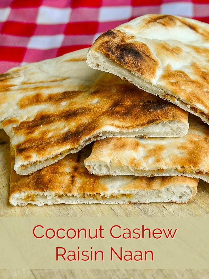 Coconut Cashew Raisin Naan photo with title text for Pinterest