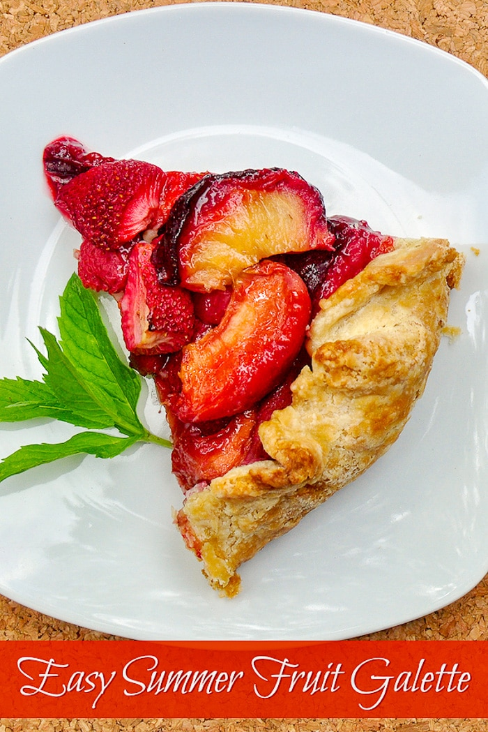 Easy Summer Fruit Galette single slice with title text