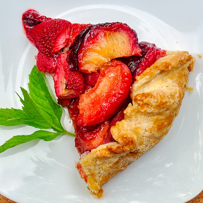 Summer Fruit Galette slice on white plate