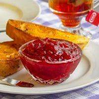 Cherry Apple Jam on Sour Cream Flan