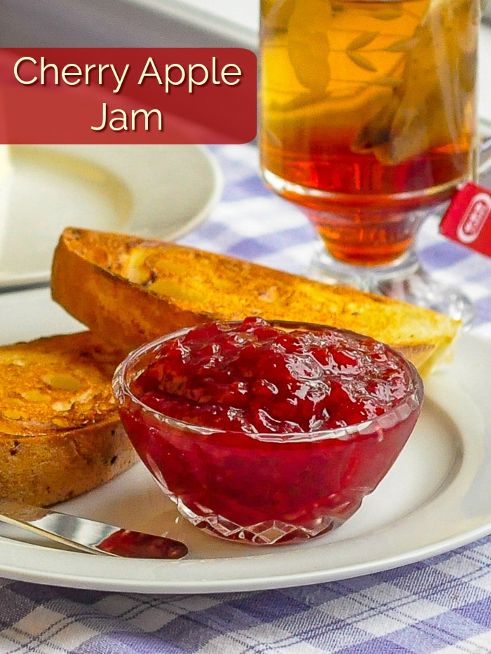 Cherry Apple Jam photo with title text for Pinterest