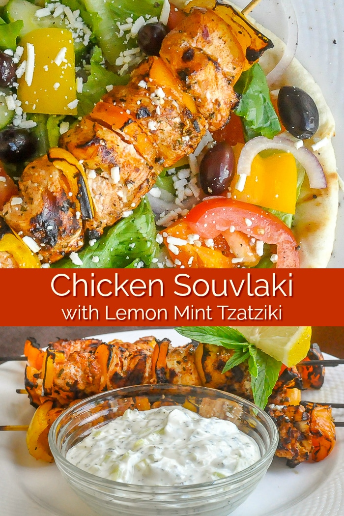 Chicken Souvlaki with Lemon Mint Tzatziki image with title text for Pinterest