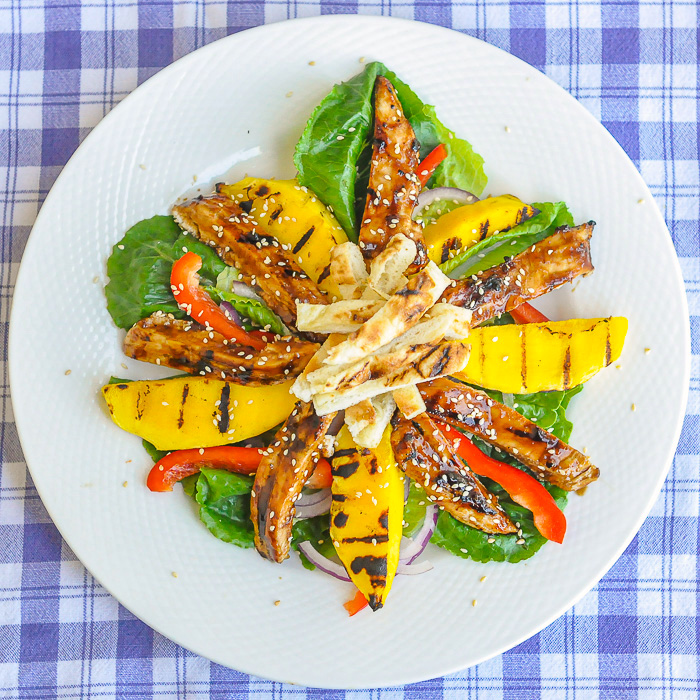 Chicken Teriyaki Salad with Grilled Mango overhead shot of a plated salad