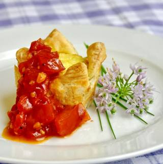 Parmesan Fennel Mini Quiche with Spicy Quick Tomato Compote