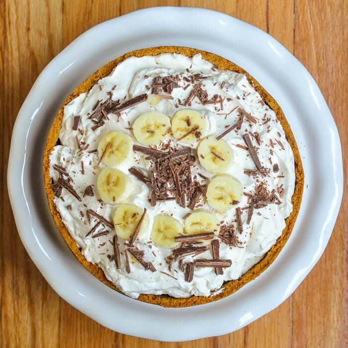 Banoffee Pie - caramel toffee, bananas, and whipped cream all in a graham cracker crumb crust!
