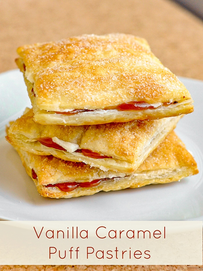 Vanilla Caramel Puff Pastries photo with title text for Pinterest
