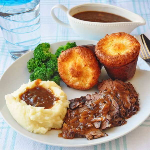 French Onion Braised Brisket with Popovers