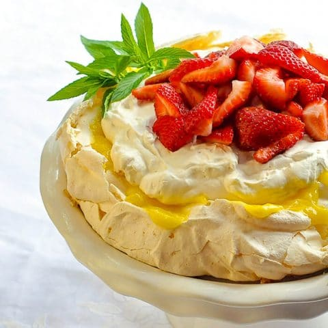 Lemon Pavlova with Strawberries