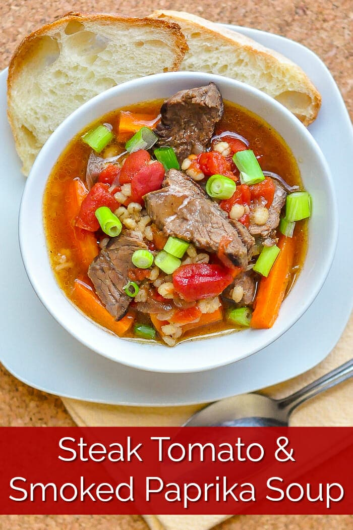 Steak Tomato and Smoked Paprika Soup image with title text for Pinterest