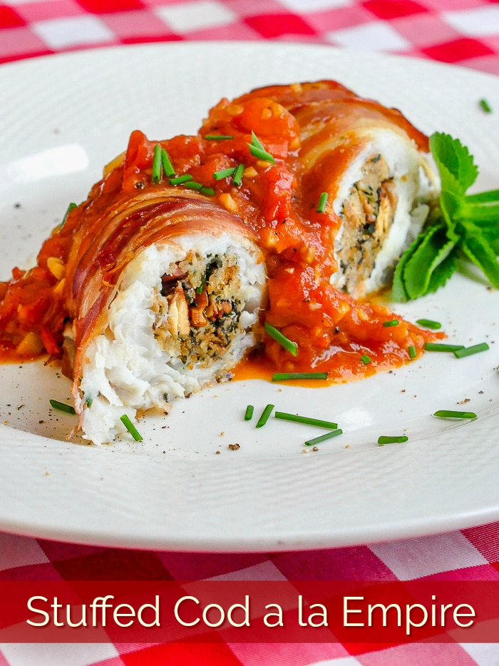 Stuffed Cod a la Empire photo with title text added for Pinterest