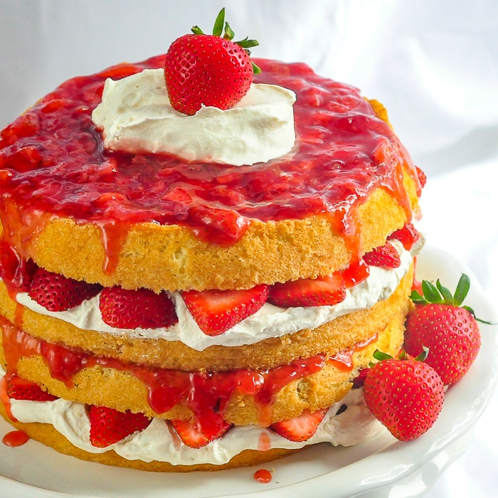 The Ultimate Strawberries and Cream Cake square cropped photo for featured image
