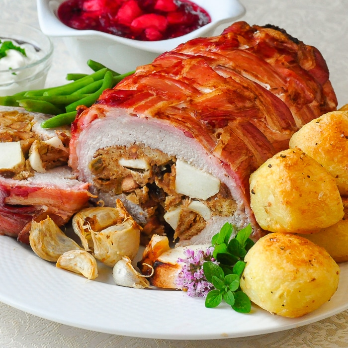 Apple Almond Stuffed Pork Loin in a Bacon Blanket square cropped featured image