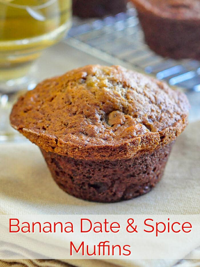 Banana Date Spice Muffins photo with title text for Pinterest
