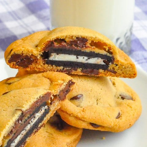 Oreo Stuffed Chocolate Chip Cookies close up photo on a white plate