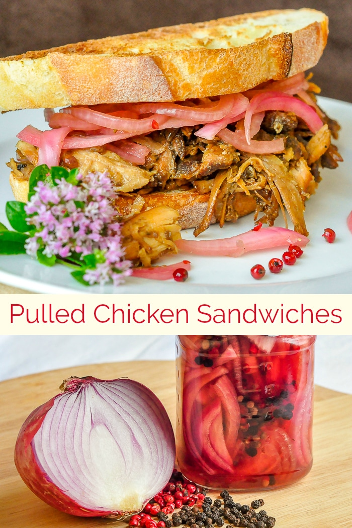Pulled Chicken Sandwiches with picked red onion image collage with title text for Pinterest