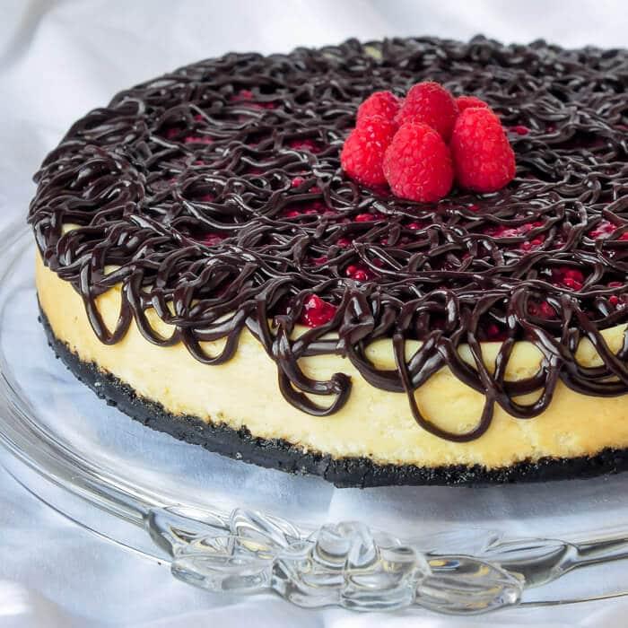 Raspberry Tuxedo Cheesecake