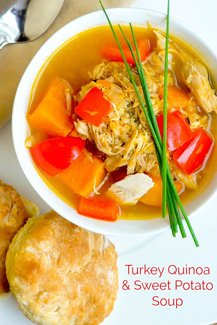 Turkey Quinoa Sweet Potato Soup photo with title text for Pinterest