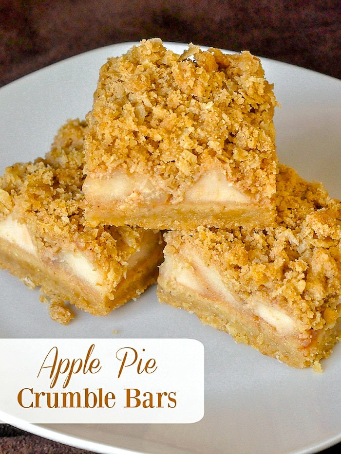 Apple Pie Crumble Bars image with title text for Pinterest
