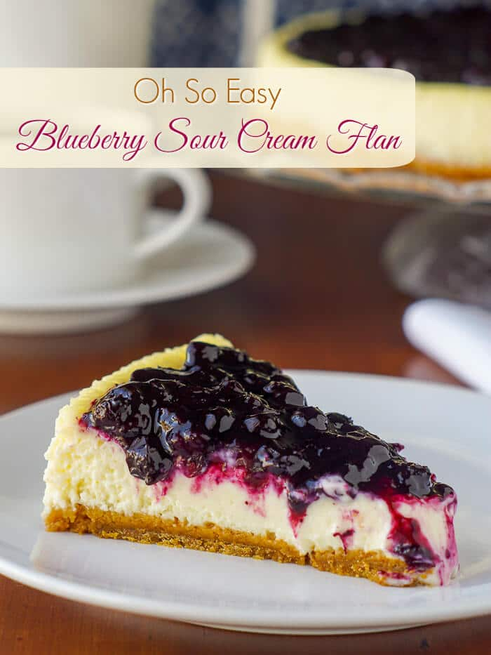Blueberry Sour Cream Flan image with title text