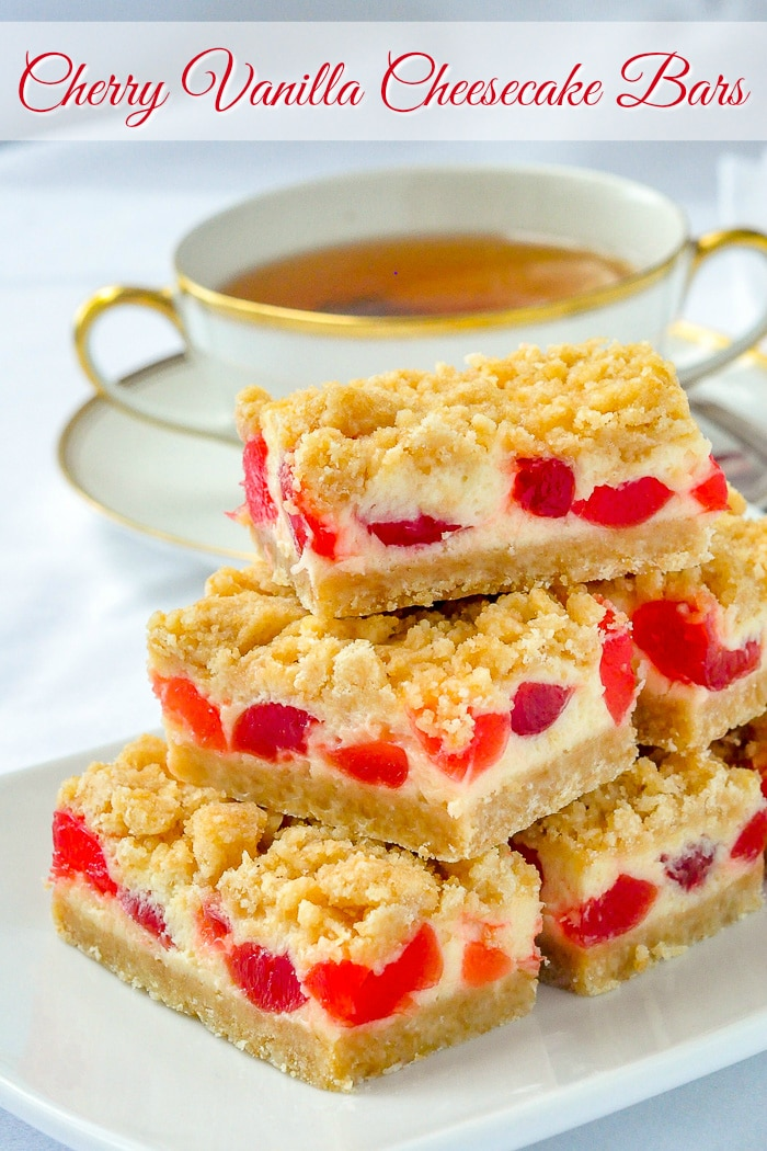 Cherry Vanilla Cheesecake Bars image with title text for Pinterest