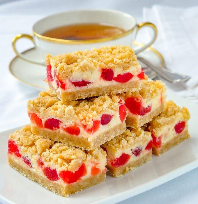 Cherry Vanilla Cheesecake bars featured image