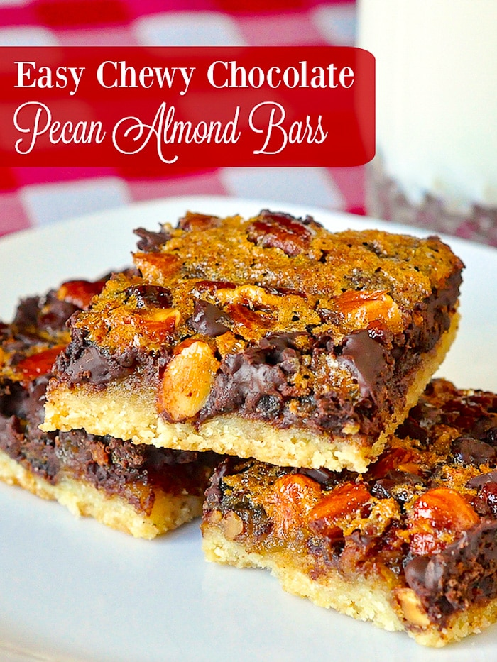 Chewy Chocolate Pecan Almond Bars photo with title text for Pinterest