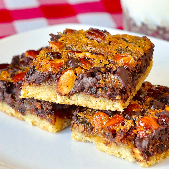 Chewy Chocolate Pecan Almond Bars close up square cropped featured image