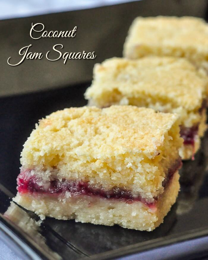 Coconut Jam Squares with title text