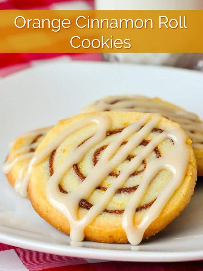 Orange Cinnamon Roll Cookies with title text