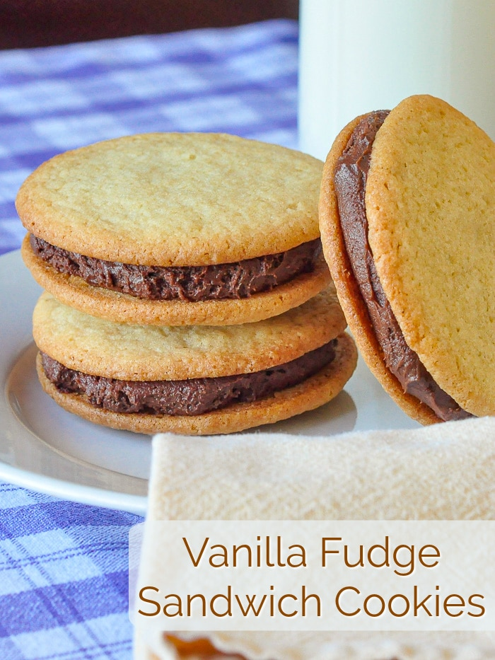 Vanilla Fudge Sandwich Cookies photo with title text for Pinterest