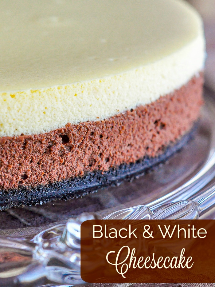 Black and White Cheesecake photo with title text for Pinterest