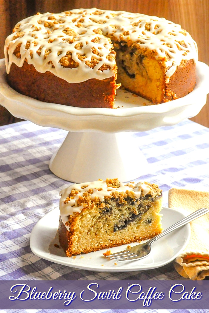 Blueberry Swirl Coffee Cake photo with title text added for Pinterest