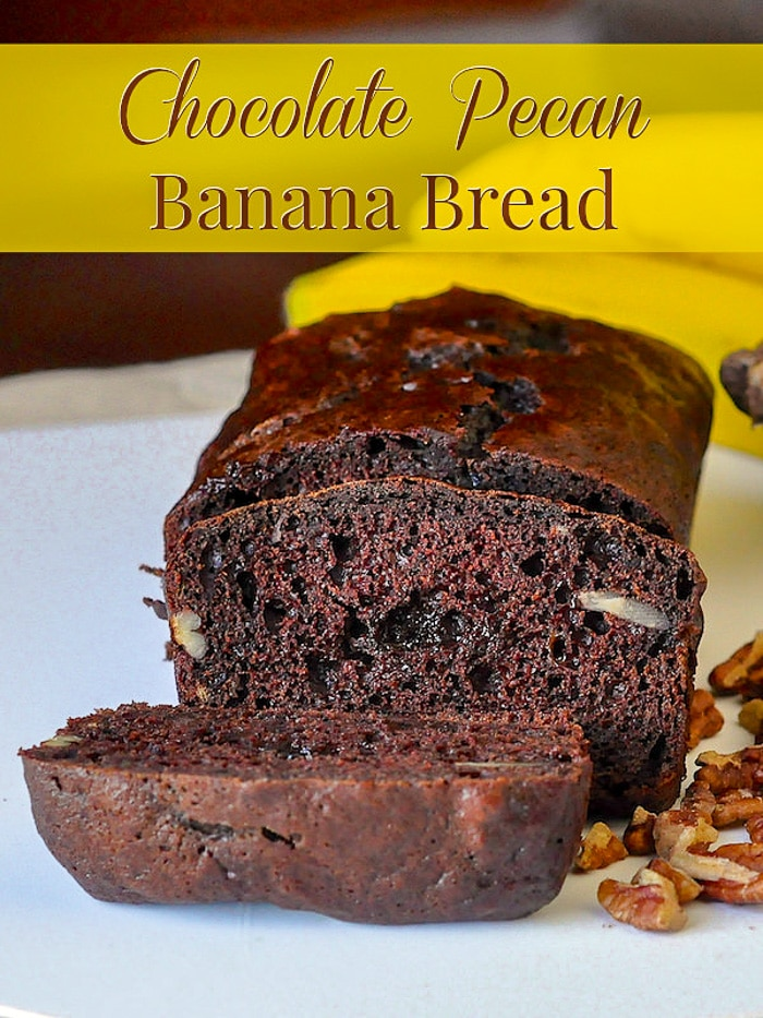 Chocolate Pecan Banana Bread image with title text