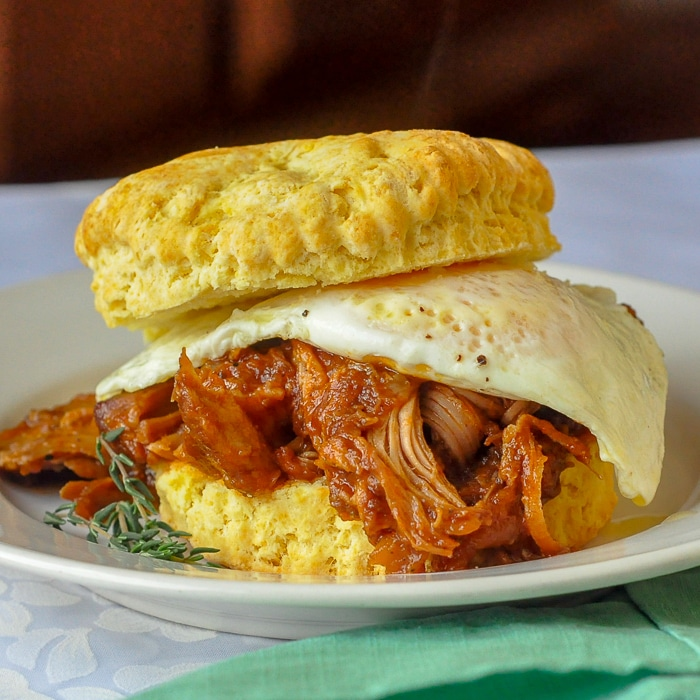 Corn Flour Biscuits as pulled pork breakfast sandwiches