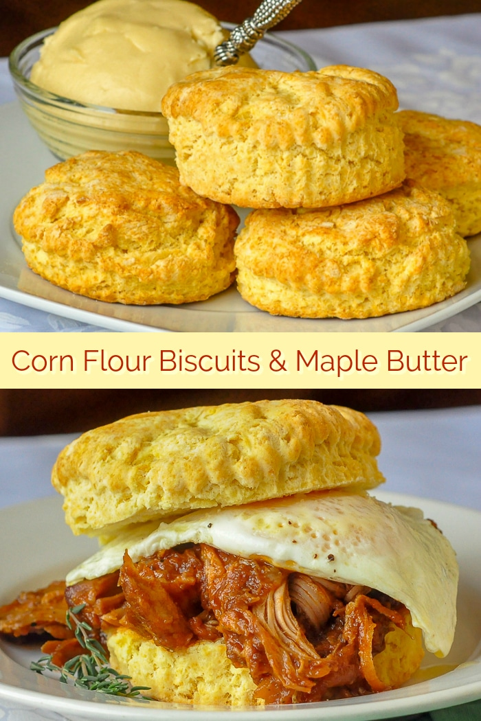 Corn Flour Biscuits with Maple Butter photo collage for Pinterest