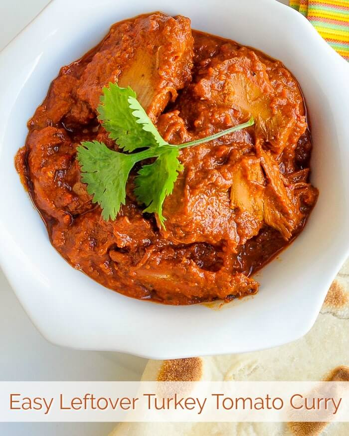 Easy Leftover Turkey Tomato Curry image with text