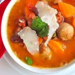 Low Fat Turkey Italian Sausage Mixed Bean Soup close up photo of soup in a white bowl