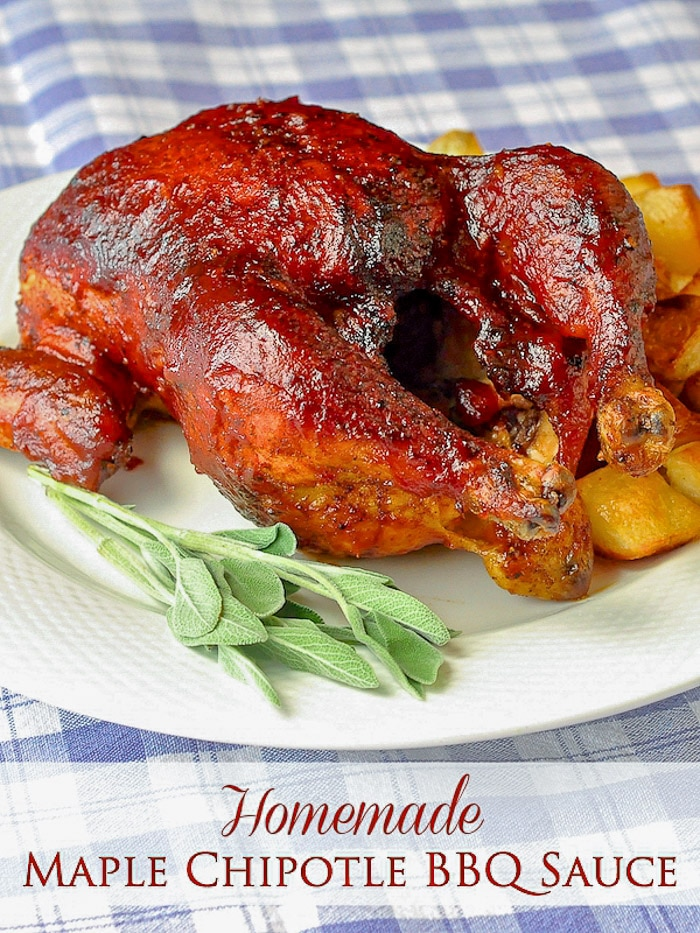 Maple Chipotle Barbecue Sauce image with title text for Pinterest