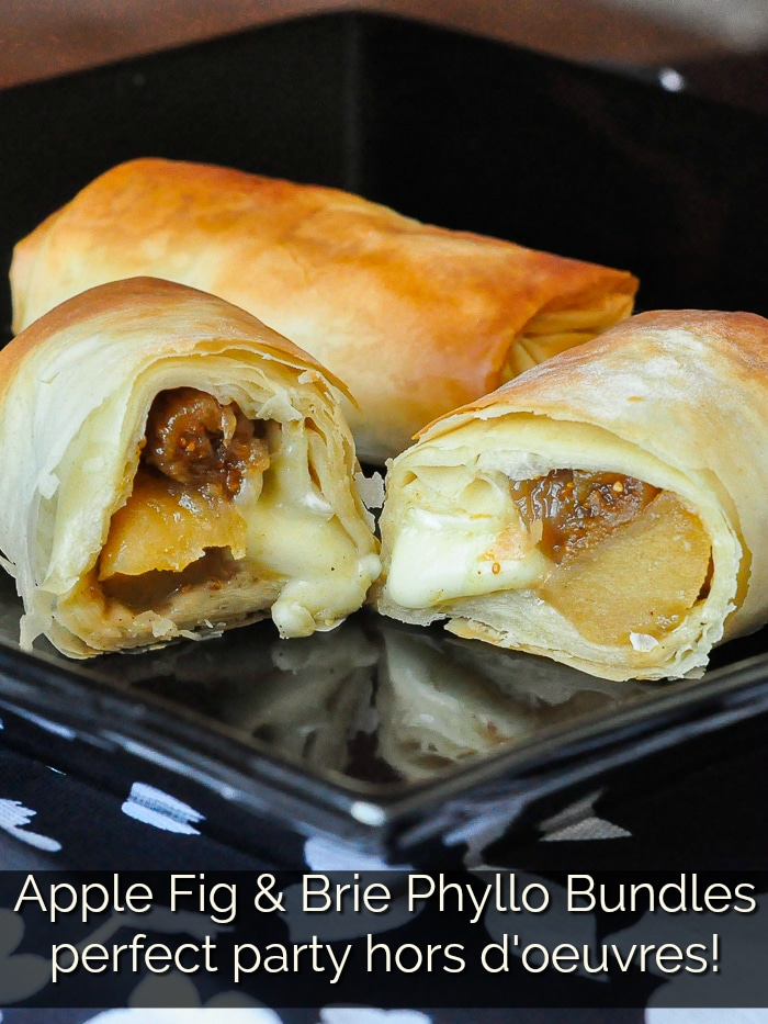 Apple Fig and Brie Phyllo Bundles photo with title text for Pinterest