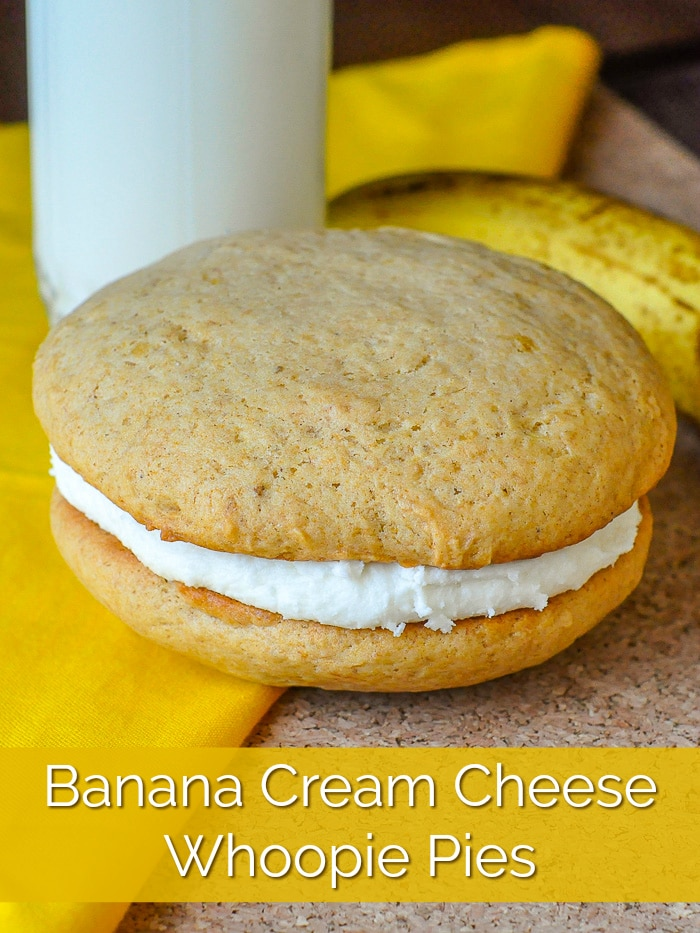 Banana Cream Cheese Whoopie Pies image with title text added for Pinterest