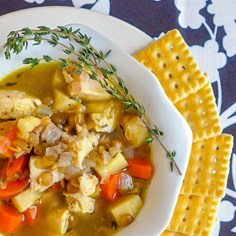 Chicken Thyme and Lentil Soup