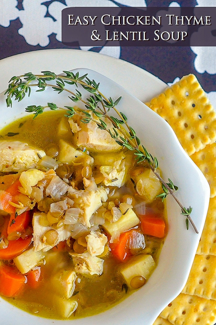 Chicken Thyme and Lentil Soup image with title text for Pinterest