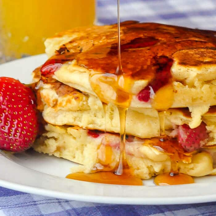 Strawberries & Cream Pancakes