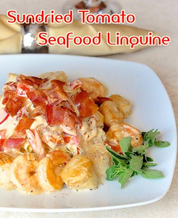 Sun Dried Tomato Seafood Linguine