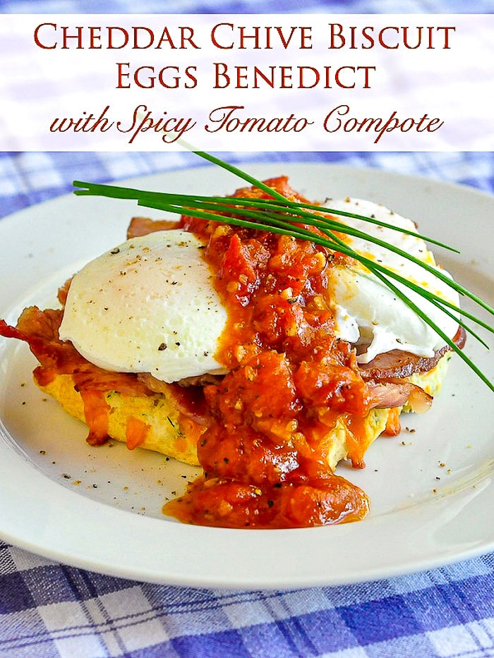 Cheddar Chive Biscuit Eggs Benedict photo with title text for Pinterest