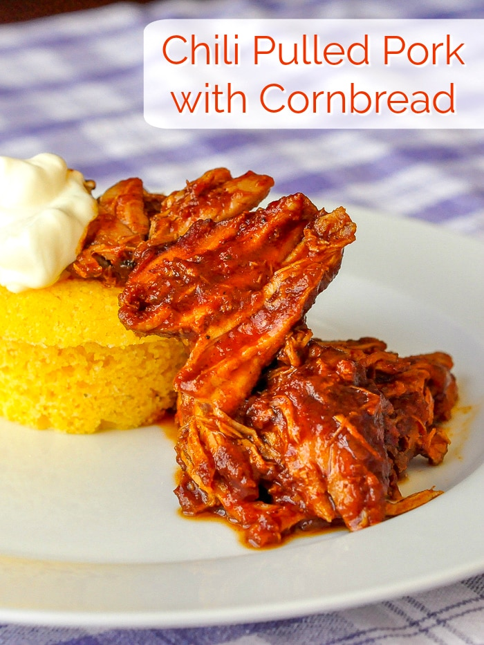 Chili Pulled Pork with Cornbread image with title text for Pinterest