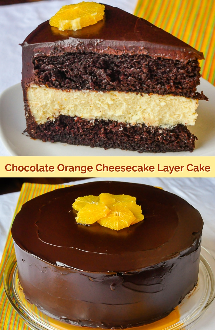 Chocolate Orange Cheesecake Layer Cake photo collage with title text for Pinterest
