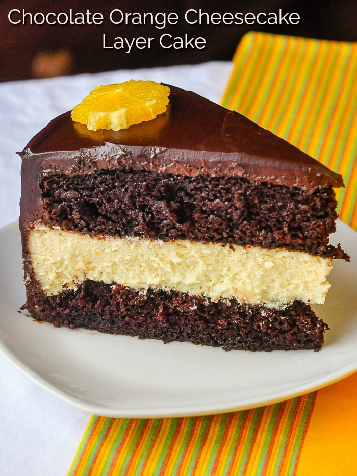 Chocolate Orange Cheesecake Layer Cake photo with title text for Pinterest